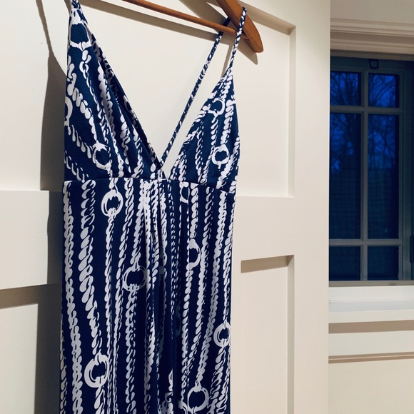 Julie Brown long navy and white summer dress